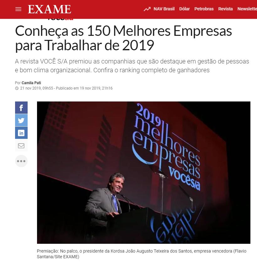 Você S/A premia as 150 melhores empresas para trabalhar no Brasil em 2019